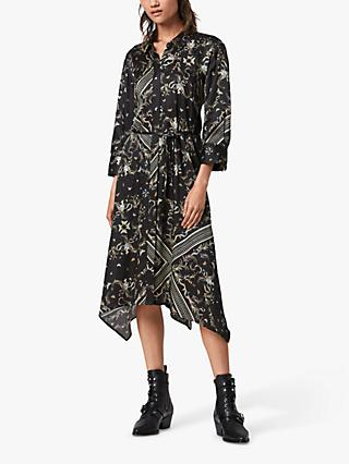 AllSaints Maia Assam Silk Blend Dress, Black
