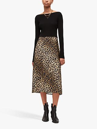 AllSaints Leppo Leopard Print Maxi Dress, Black