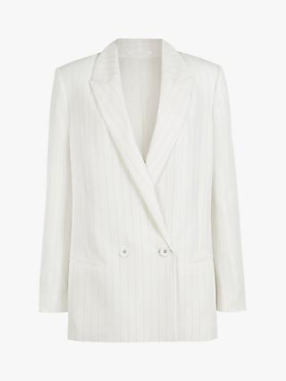 AllSaints Clea Double Breasted Stripe Blazer, White/Black