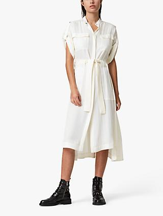 AllSaints Luciana Midi Shirt Dress, Ecru White