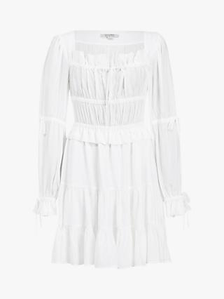 AllSaints Kimi Silk Blend Ruched Mini Dress, Chalk White