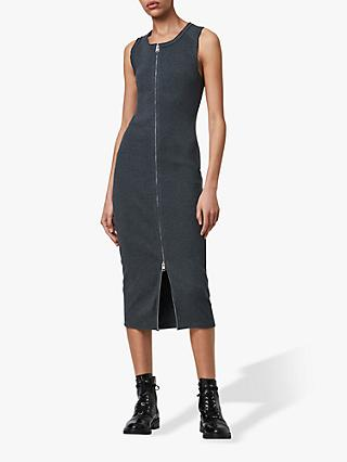 AllSaints Alicia Zip Midi Dress, Charcoal Grey