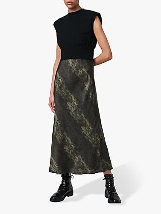 AllSaints Kayla Abstract Print Maxi Dress, Black/Forest Green