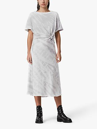 AllSaints Knot Abstract Midi Dress, Lavender