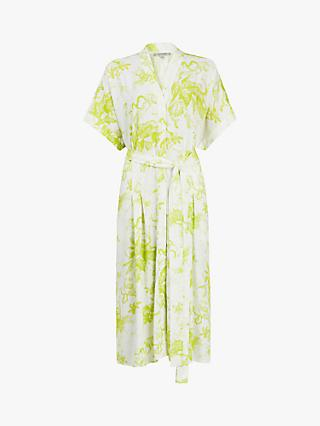 AllSaints Rosin Floral Print Shirt Dress, Chartreuse Yellow