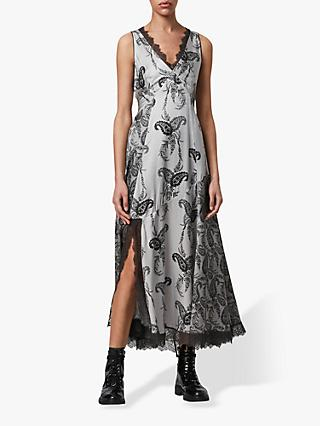 AllSaints Nysa Floral Print Sleeveless Maxi Dress, Grey