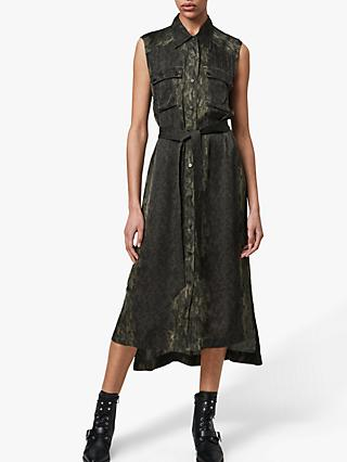 AllSaints Esthie Masala Shirt Dress, Forest Green