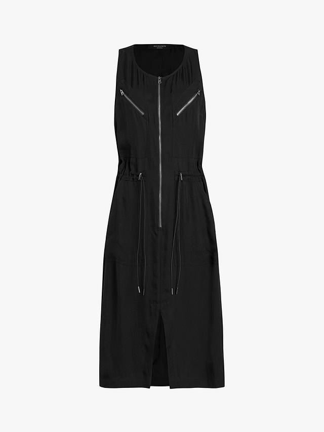 Buy AllSaints Vola Zip Midi Dress, Black, 8 Online at johnlewis.com