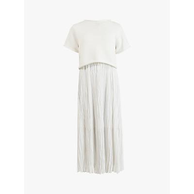 AllSaints Laze 2-in-1 Crinkle Slip Dress, White