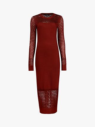 AllSaints Kendy Crochet Midi Dress, Orange