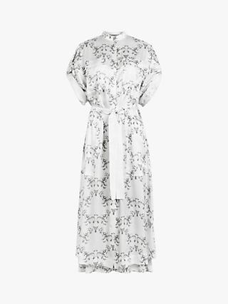 AllSaints Assam Floral Midi Shirt Dress, White