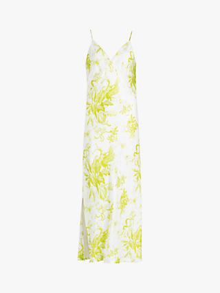 AllSaints Melody Floral Print Maxi Dress, Chartreuse Yellow