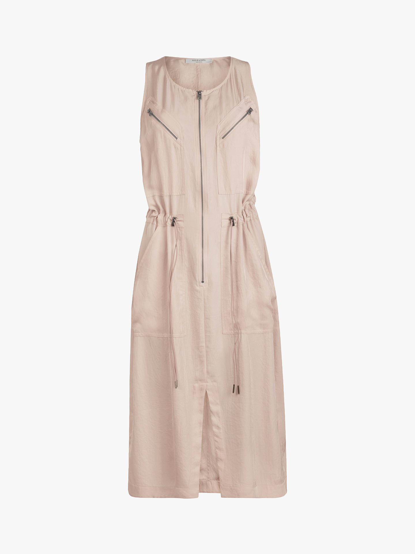 Buy AllSaints Vola Zip Midi Dress, Muted Pink, 6 Online at johnlewis.com
