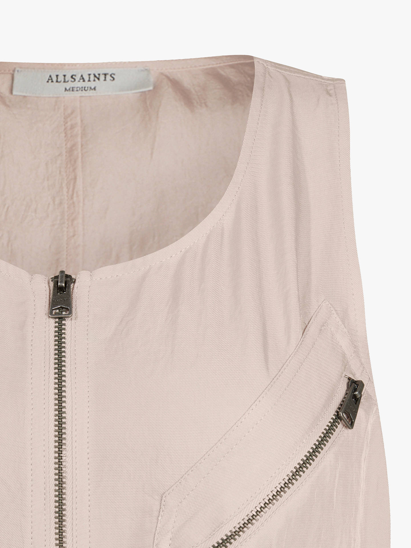 Buy AllSaints Vola Zip Midi Dress, Muted Pink, 8 Online at johnlewis.com