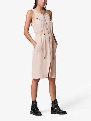 AllSaints Vola Zip Midi Dress