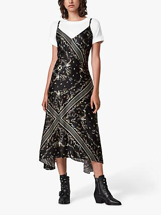 AllSaints Larisa Assam Silk Blend Maxi Dress, Black
