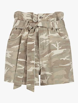 AllSaints Hannah Belted Camo Denim Shorts, Camouflage Cream