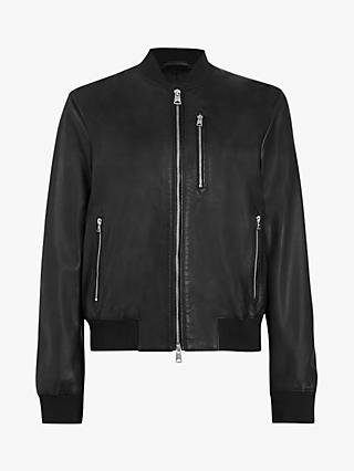 AllSaints Remy Leather Bomber Jacket, Black