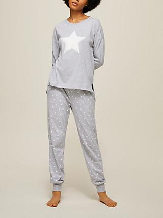John Lewis & Partners Fluffy Star Jersey Gift Pyjama Set, Grey