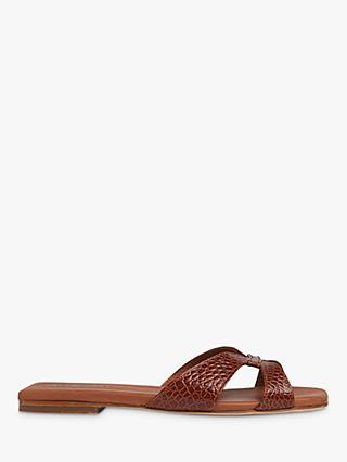 Whistles Tabitha Leather Slider Sandals, Tan