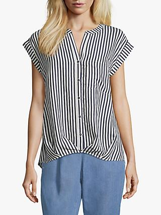 Betty & Co Striped V-Neck Blouse, White/Blue