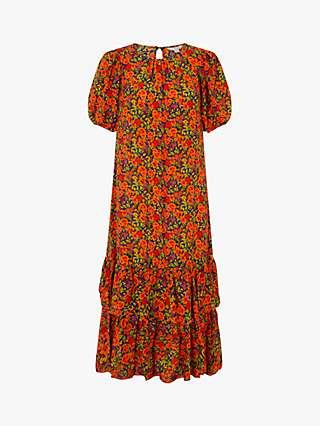 Monsoon Romana Floral Print Ruffle Hem Maxi Dress, Orange/Multi