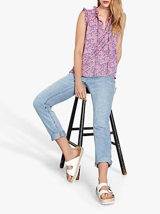 hush Peggy Frill Neck Top, Pink/Fan Print