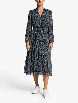 Marella Lina Paisley Ruffle Midi Shirt Dress, Black/Multi