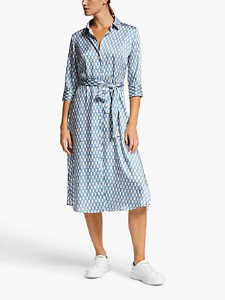 Marella Mendoza Belted Chain Print Shirt Dress, Periwinkle Blue