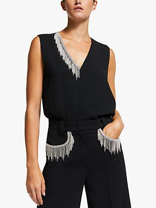 Marella Nornes Embellished Sleeveless Top, Black