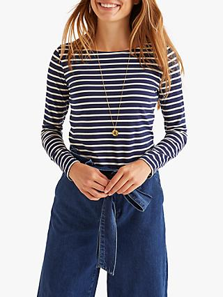 Boden Long Sleeve Breton Top, Navy/Ivory