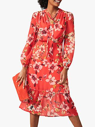 Phase Eight Bernadette Floral Print Midi Dress, Sunset