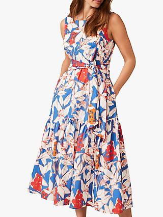 Phase Eight Etta Floral Print Flared Dress, Ivory/Multi