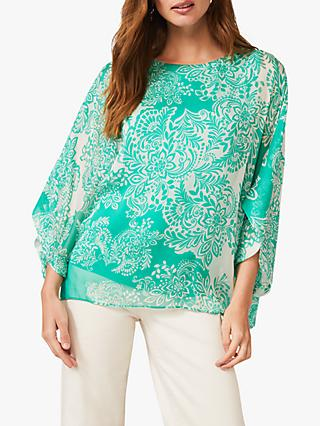 Phase Eight Colette Paisley Print Silk Blouse, Green/White