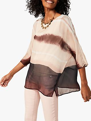 Phase Eight Nya Abstract Silk Blouse, Multi/Pink