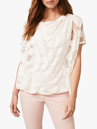 Phase Eight Sariah Floral Burnout Top, Pink/Ivory
