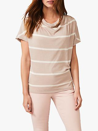 Phase Eight Siannise Stripe Top, Stone/Ivory