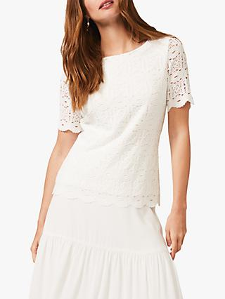 Phase Eight Louisa Lace Top, White