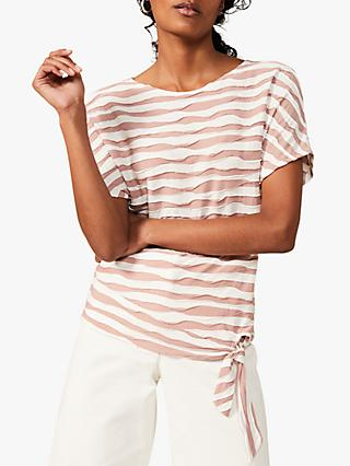 Phase Eight Shaughna Ripple Stripe Top, Pink/Ivory
