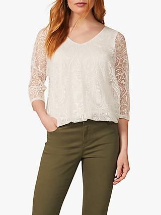 Phase Eight Cydney Burnout Paisley Print Top, Ivory