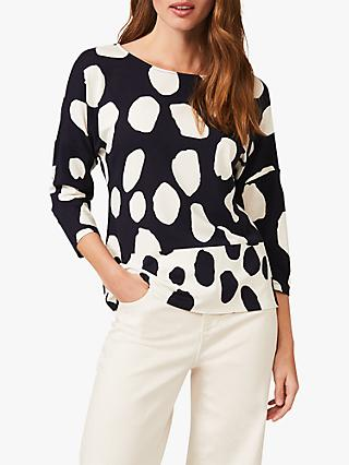 Phase Eight Carmelle Contrast Pattern Jersey Top, Navy/Ivory