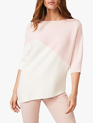 Phase Eight Bethanie Asymmetric Colour Block Knit Top, Pale Pink