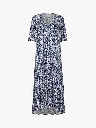 Finery Aiden Floral Print Midi Dress, Navy/White