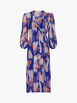Finery Abigail Abstract Print Wrap Maxi Dress, Blue/Multi