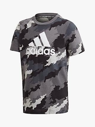 adidas Boys' Camo Logo T-Shirt, Grey