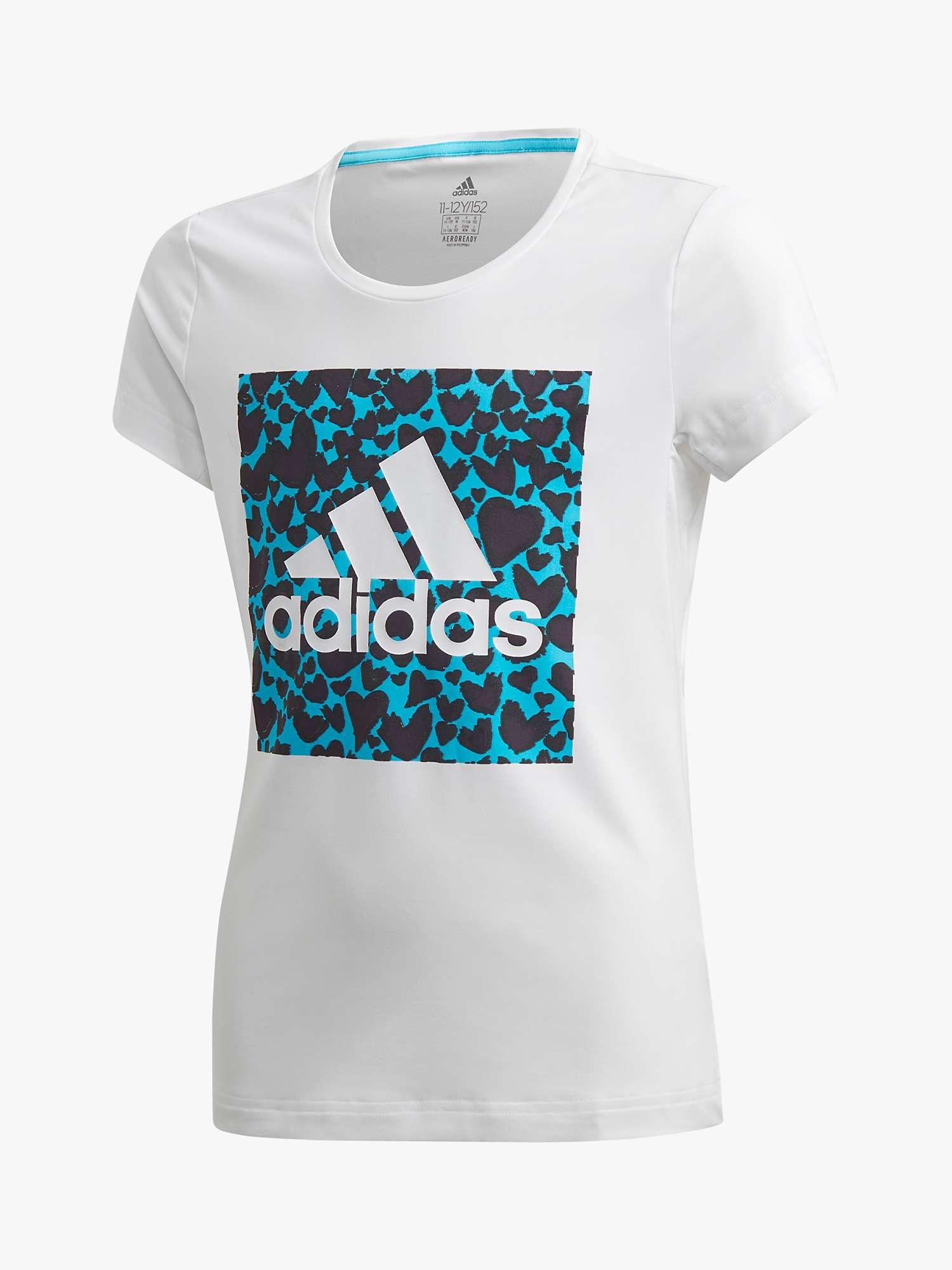 Burlas lucha Illinois  adidas Girls' Heart Logo T-Shirt, White at John Lewis & Partners