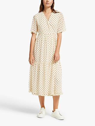 Y.A.S Dot Wrap Dress, White