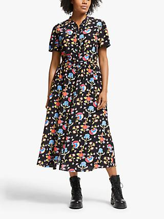 Somerset by Alice Temperley Peruvian Floral Shirt Dress, Black/Multi