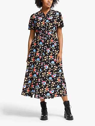 Somerset by Alice Temperley Peruvian Floral Shirt Dress, Black/Multi