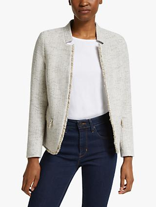 Helene For Denim Wardrobe Notch Collar Tweed Jacket, Grey